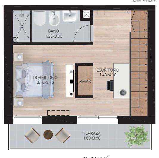 Loft de 1 dormitorio, 1 baño, dos plantas, con terraza.